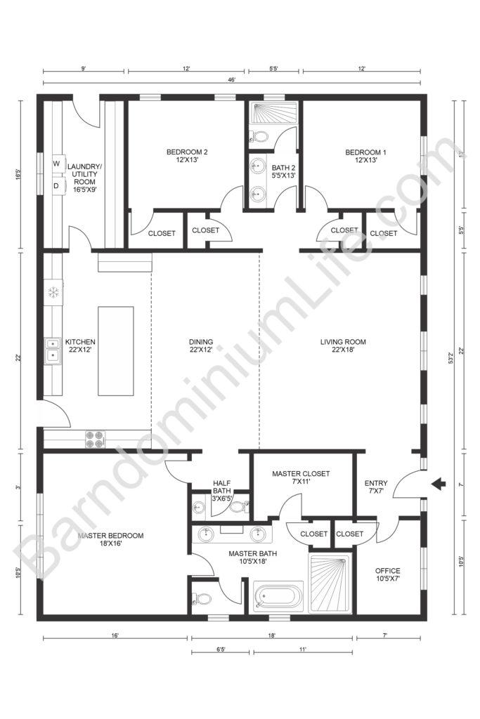 texas barndominium floor plans big master bedroom