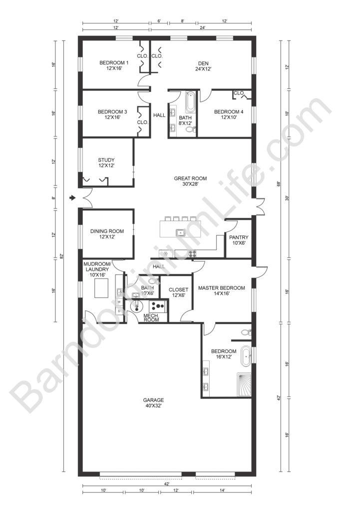 texas barndominium floor plans with den
