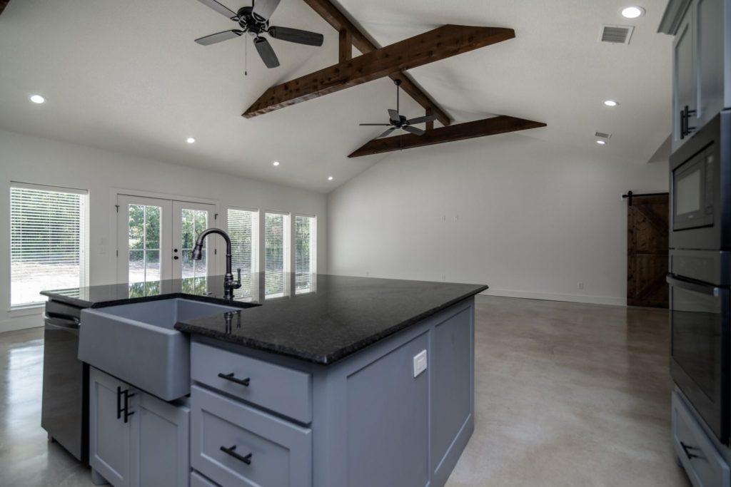Texas Barndominium kitchen island and sink
