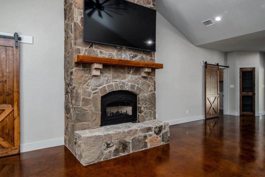 Mineral Wells Barndominium fireplace