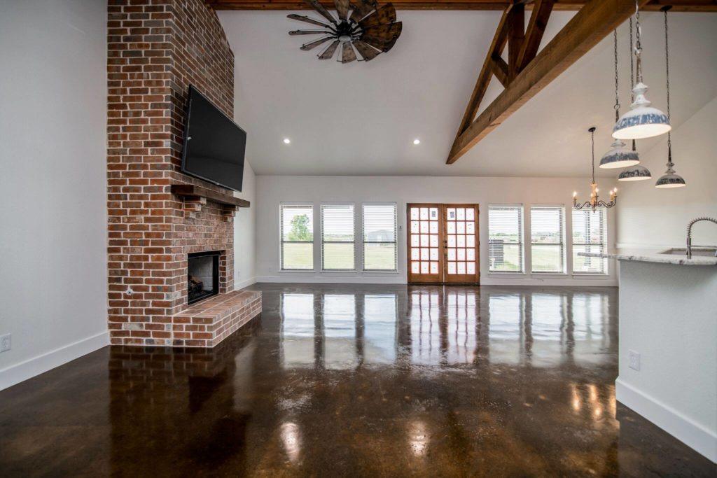 Rhome Texas Barndominium fireplace and entrace door shot