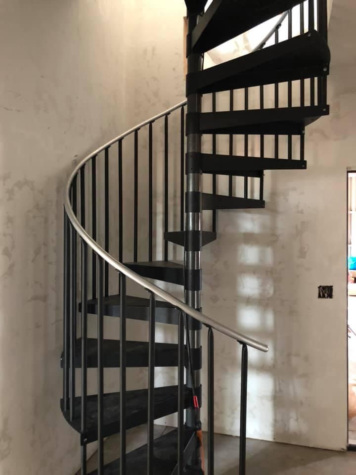 Oklahoma City Barndominium spiral stairs
