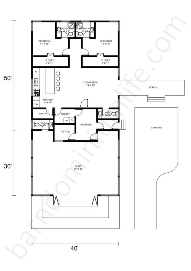 Barndominium-Floor-Plans-With-Shop-and-Garage-Carport