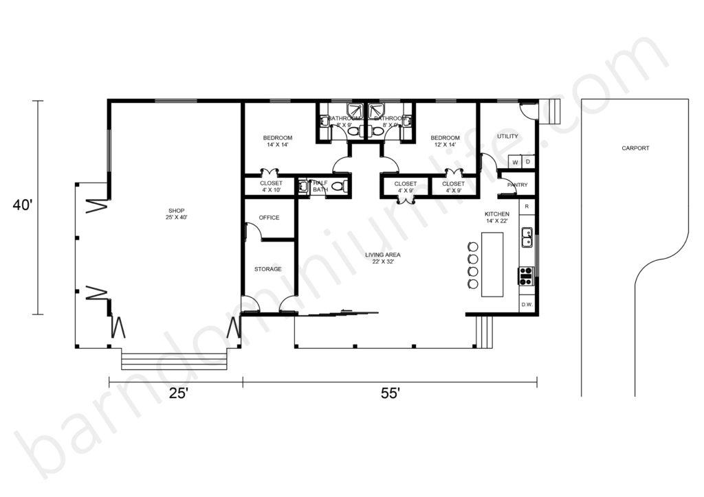 Barndominium Floor Plan With Shop and Garage Carport