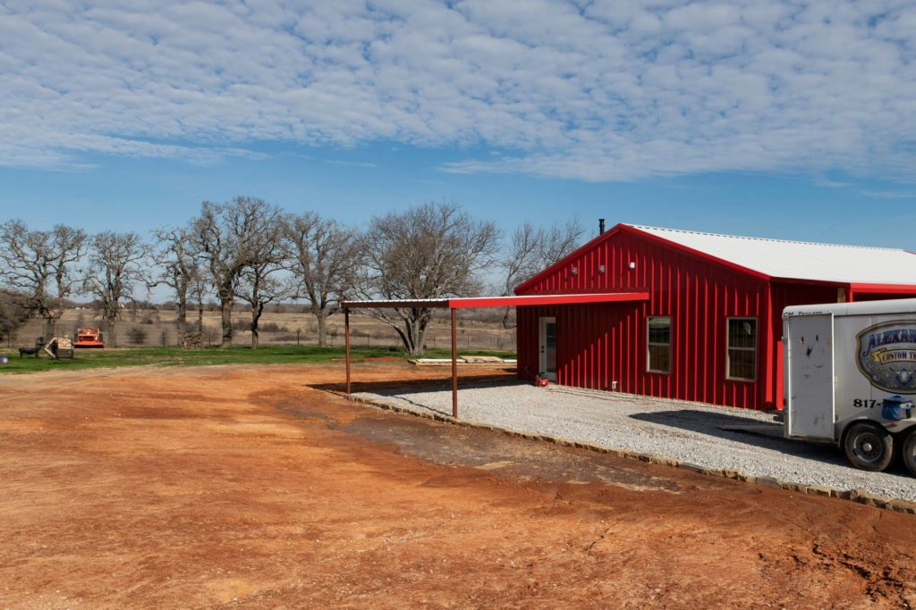 Alvord Texas Red Barndominium Carport