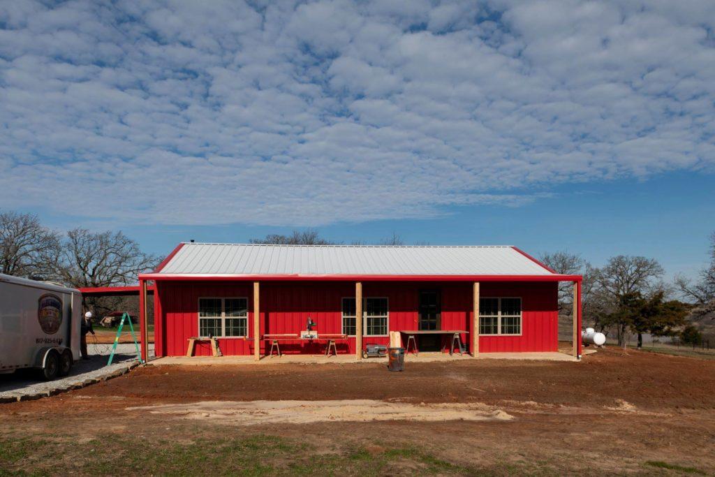 Alvord Texas Red Barndominium Front Exterior View