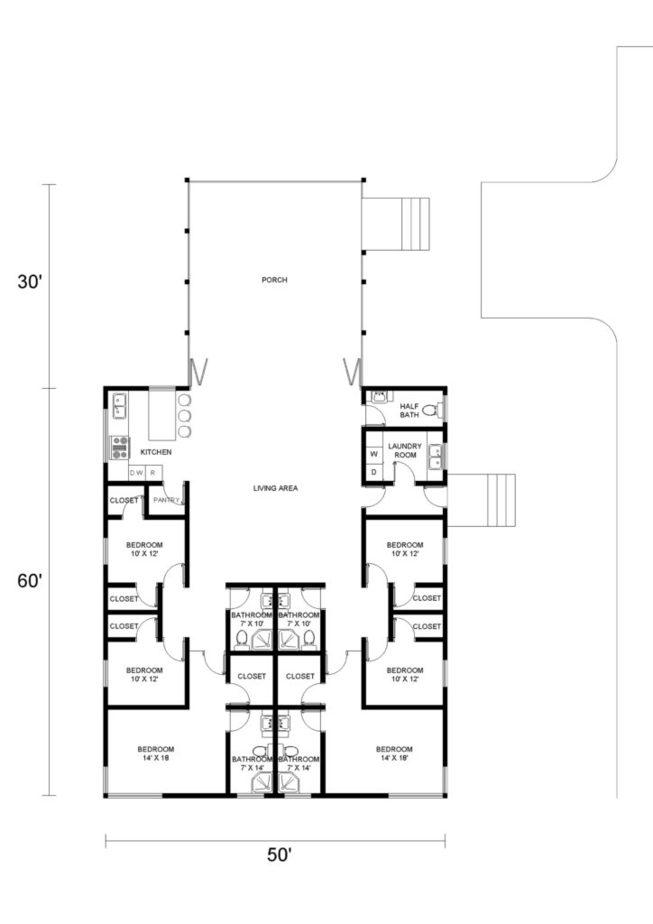 6 Bedroom Barndominium Floor Plans