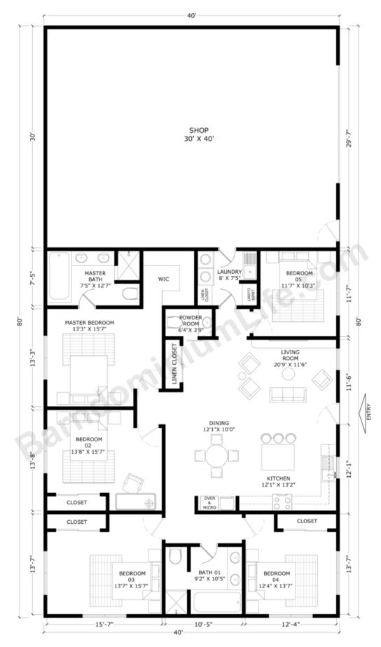 Barndominium-Floor-Plans-With-Shop-Open-Concept