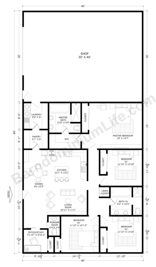 Barndominium-Floor-Plans-With-Shop-Open-Concept-with-Office