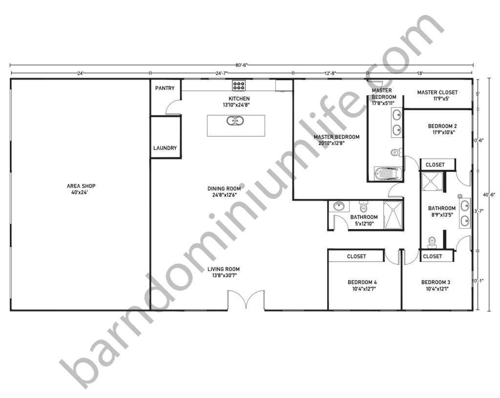 40x80 barndominium floor plan with shop