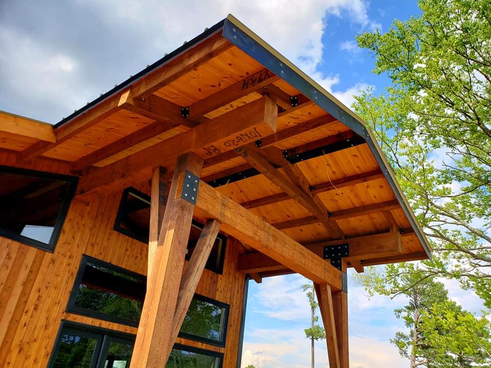 Pine wood beams and posts