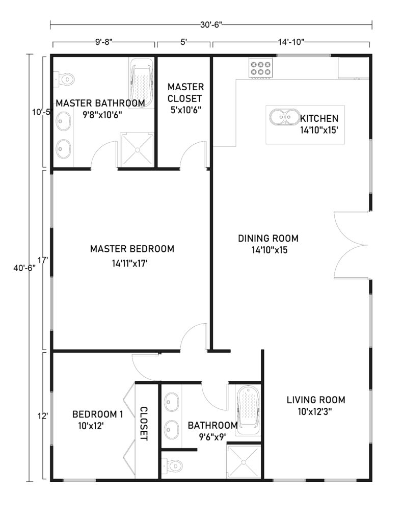 30x40 Barndominium Floor Plans for Small Family