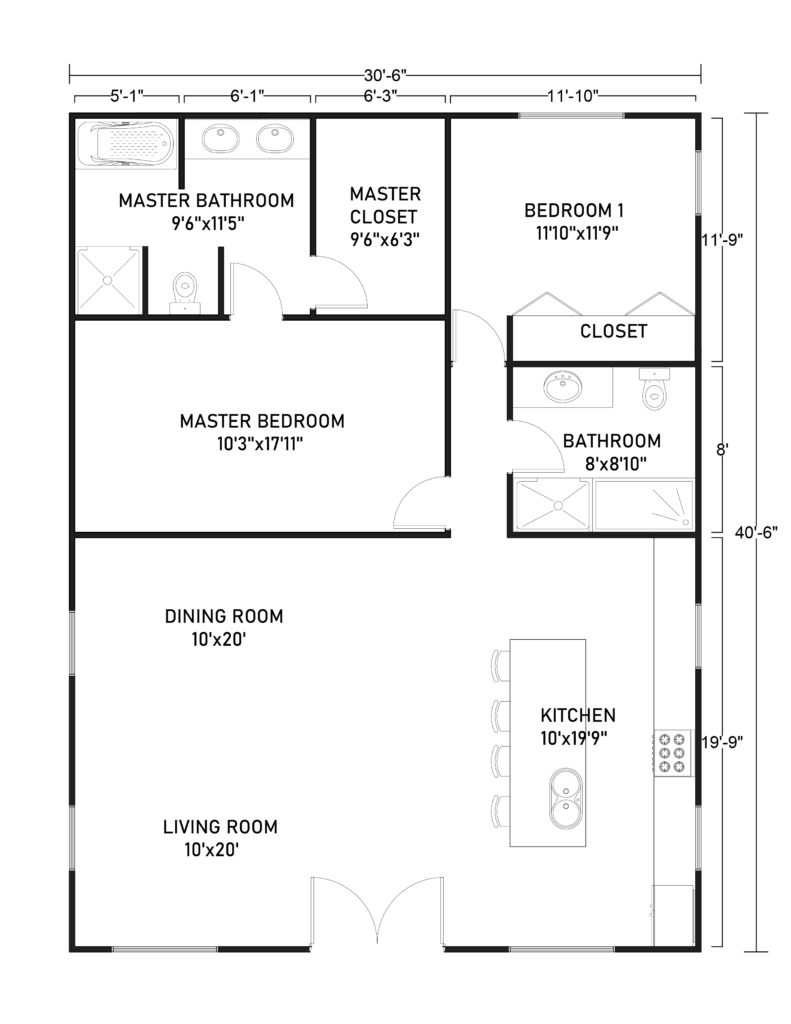 30x40 Barndominium Floor Plans with 1 Master's Bedroom and 1 Bedroom