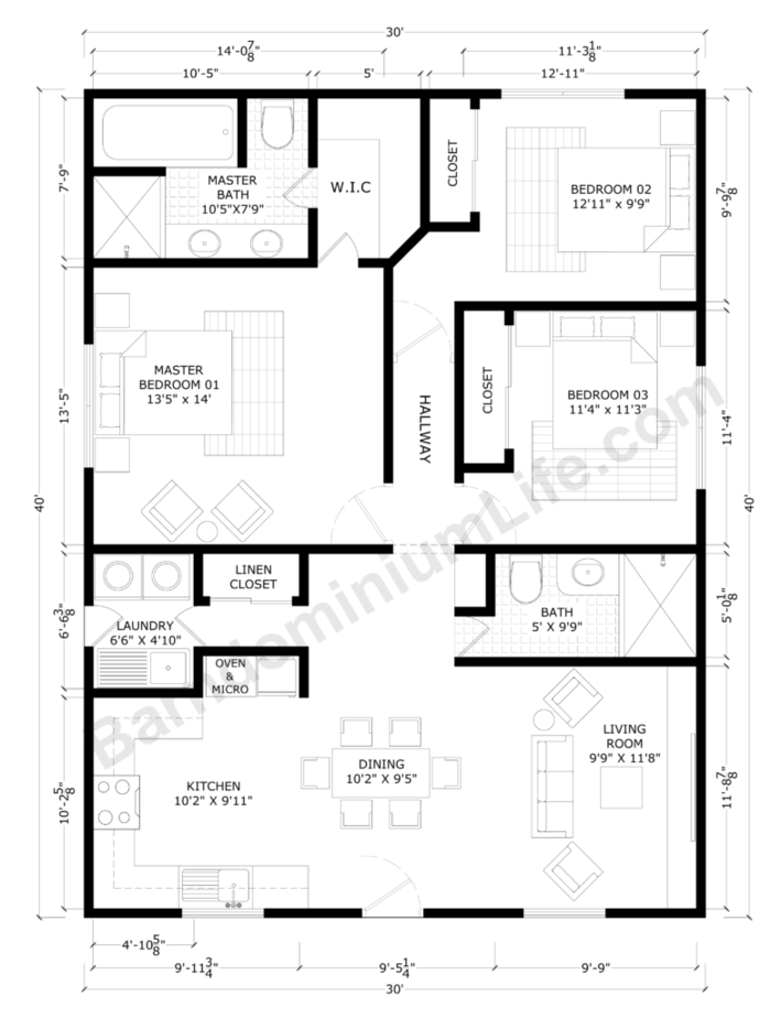 30x40 Barndominium Floor Plans with Master Suite, 2 Bedrooms, Large Living and Dining Rooms