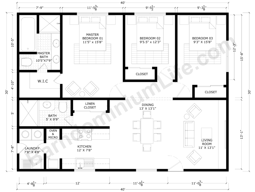 30x40 Barndominium Floor Plans with Master Suite, 2 Bedrooms, 1 Shared Bathroom