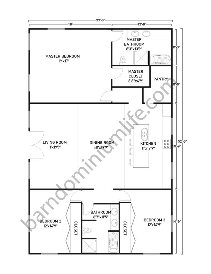 Single Story Barndominium Floor Plans With Master's Suite