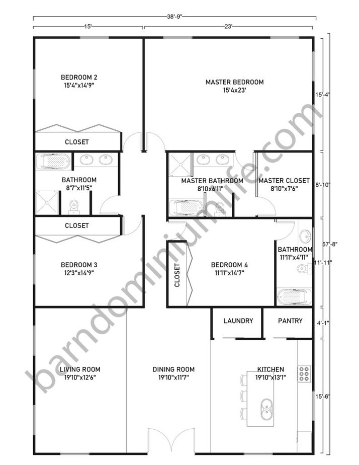 Single Story Barndominium Floor Plans With Master's Suite For Large Families