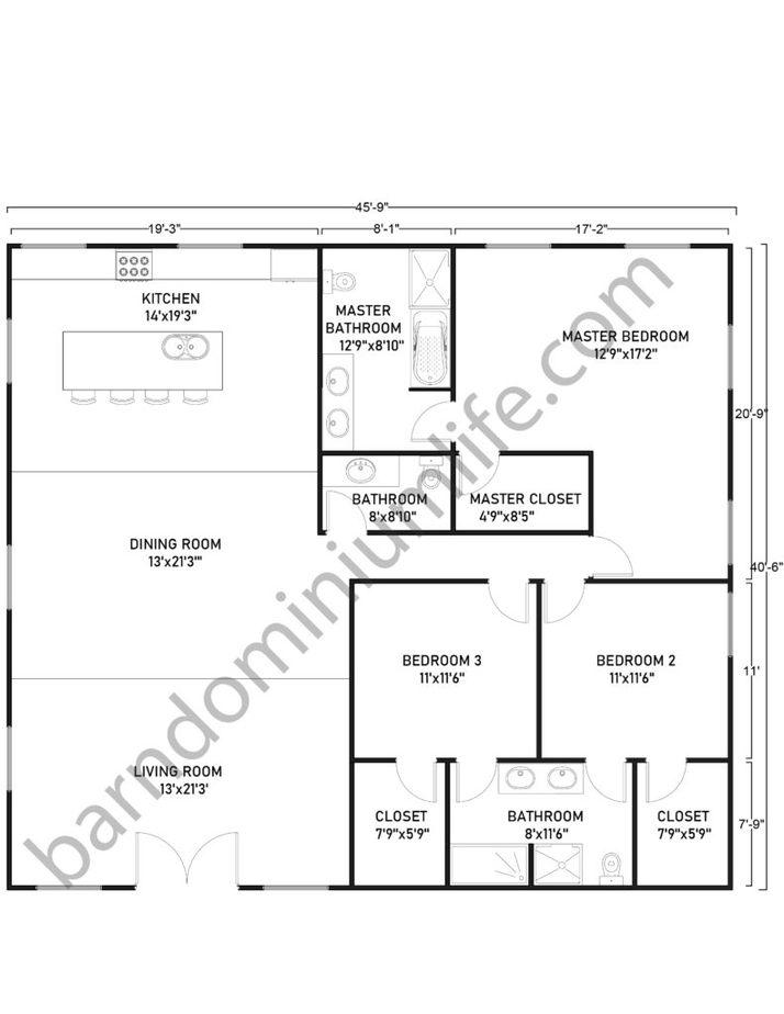 Single Story Barndominium Floor Plans Square Design
