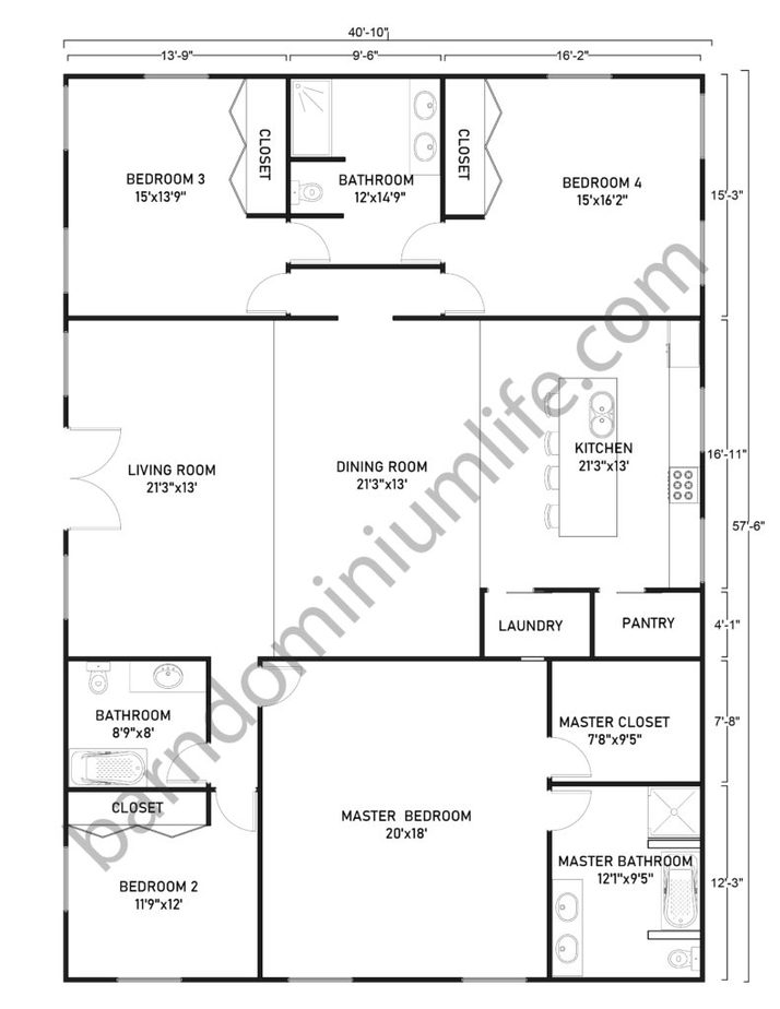 Single Story Barndominium Floor Plans With Master's Suite and 3 Bedrooms