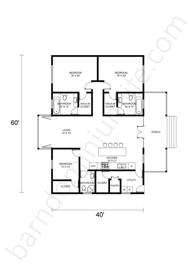 Single Story Barndominium Floor Plans Open Concept
