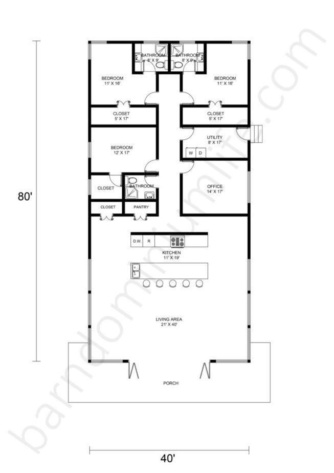 Single Story Barndominium Floor Plans Open Concept With Office