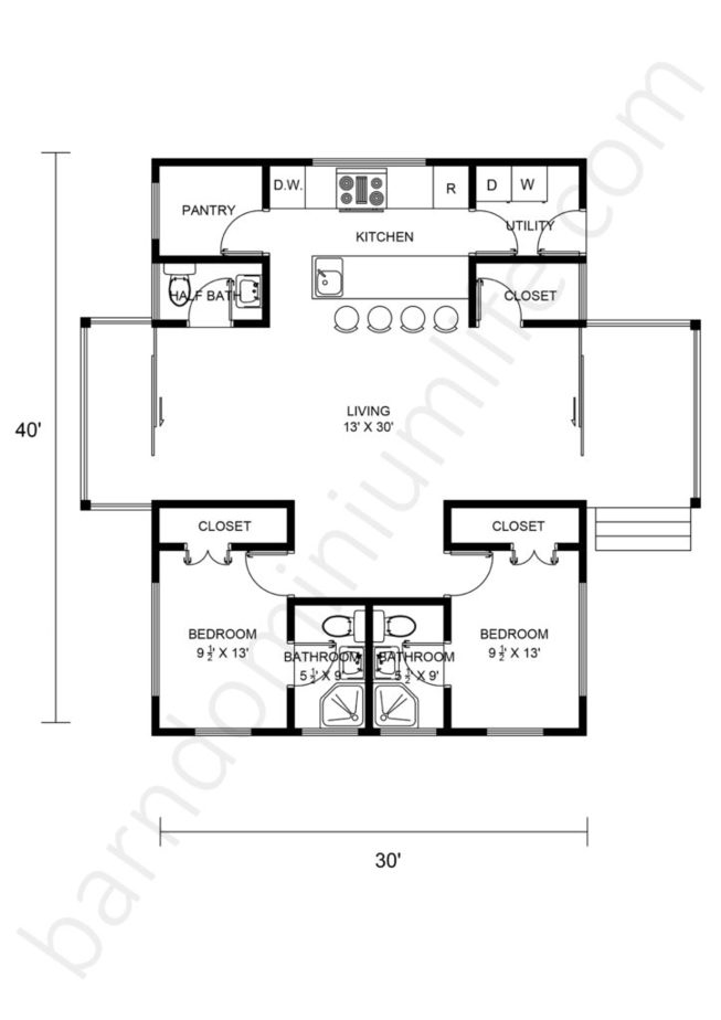 30x40 Barndominium Floor Plans Open Concept with Front and Back Porch