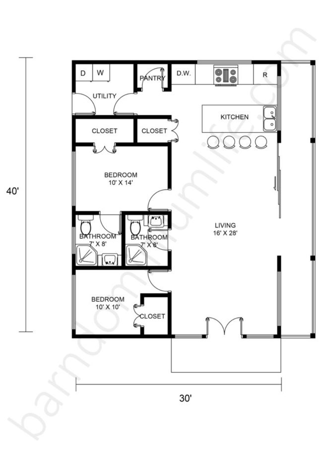 30x40 Barndominium Floor Plans Open Concept with 2 Bedrooms