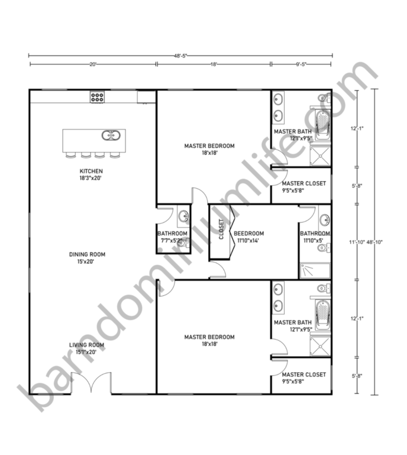 Barndominium Floor Plans With 2 Master Suites For Small Family