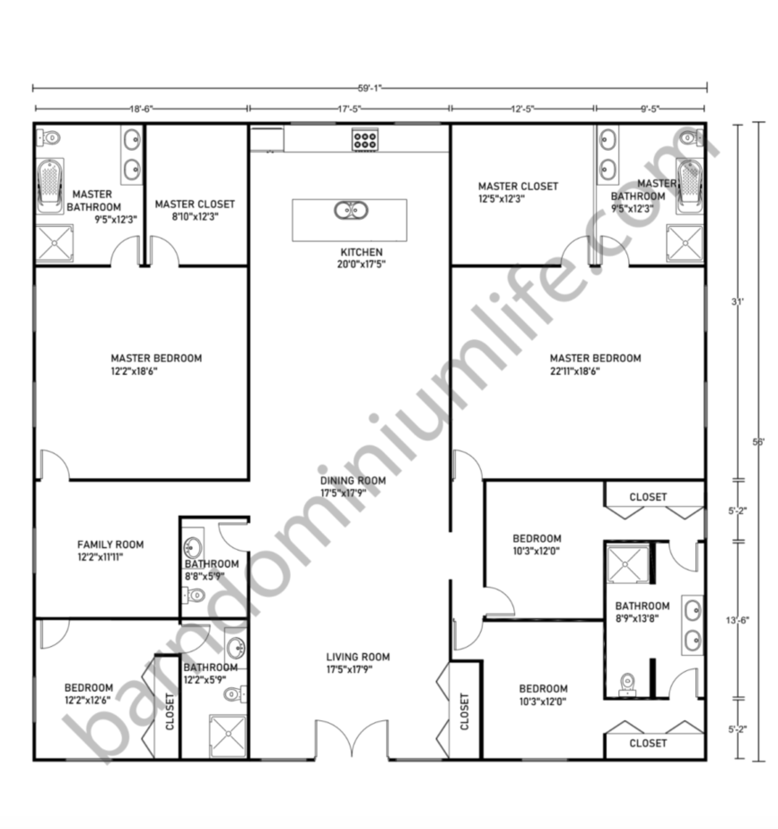 Barndominium Floor Plans 59x56 With-2 Master-Suites And 3 Bedrooms