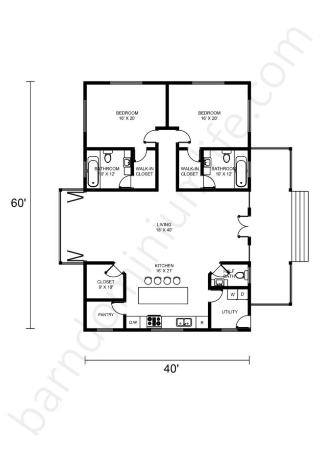 Barndominium Floor Plans With 2 Master Suites Side By Side  Open Concept