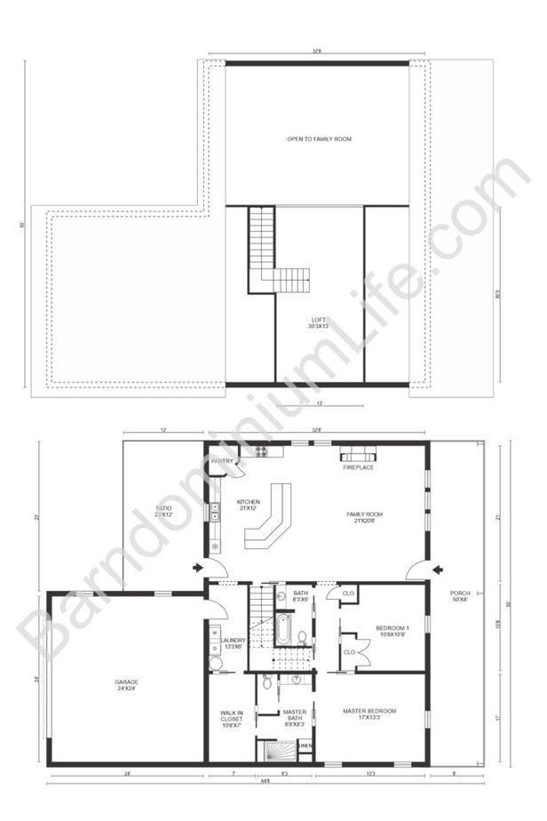 Barndominium Floor Plan with Loft