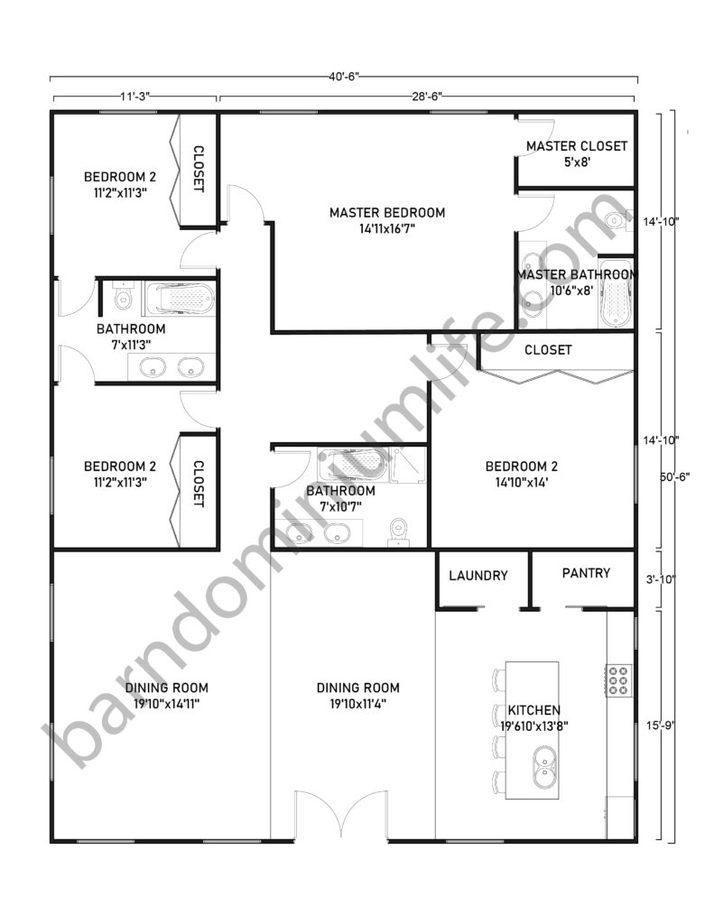 40x50 Barndominium Floor Plans for Large Families