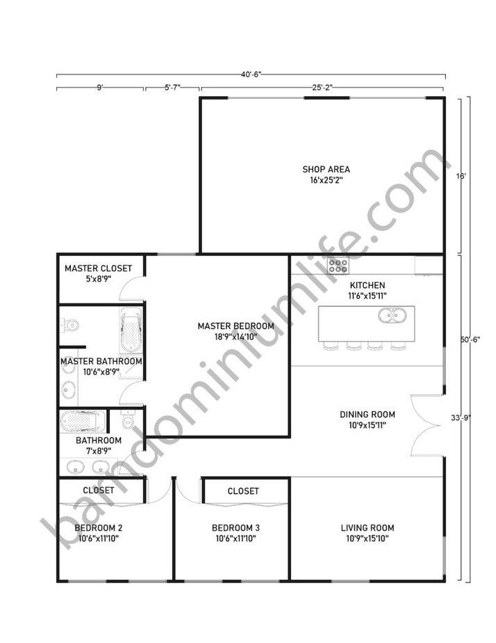 40x50 Barndominium Floor Plans with Shop Area