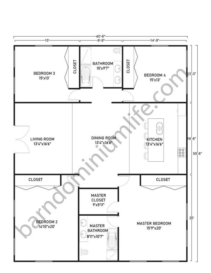 40x50 Barndominium Floor Plans with Master Bedroom and 3 Bedrooms