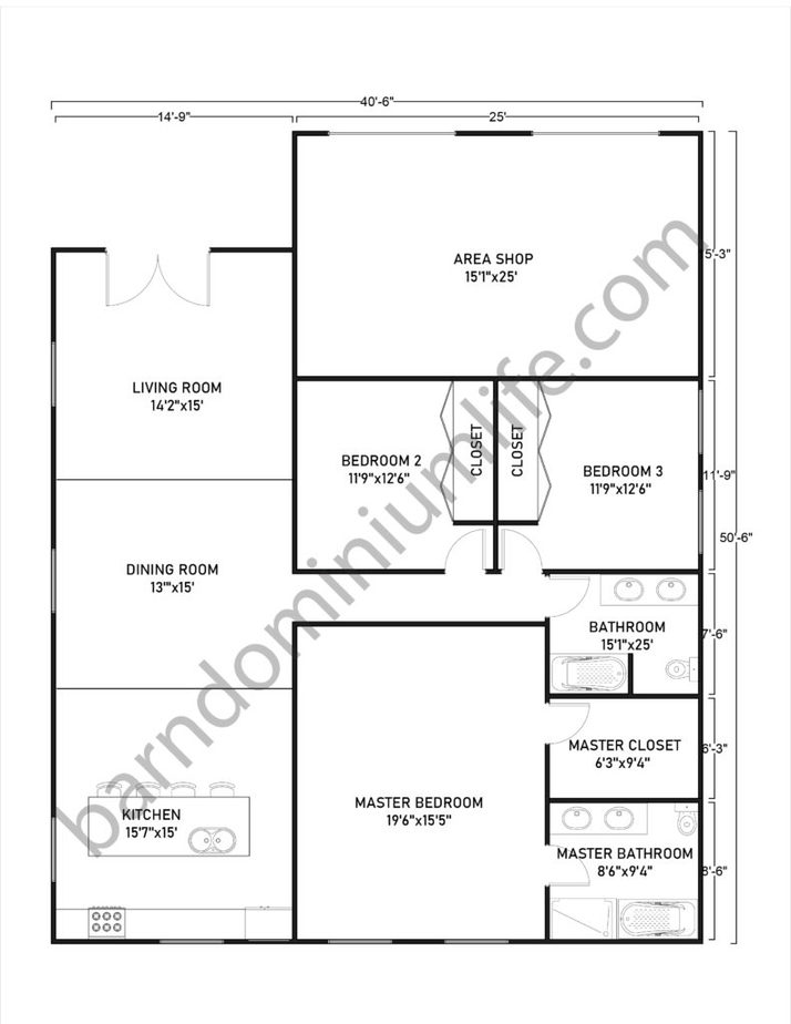 40x50 Barndominium Floor Plans with Shop Area and Front Parking