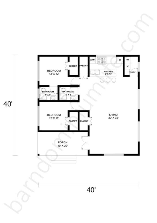 40x40 Barndominium Floor Plans Open Concept with Porch