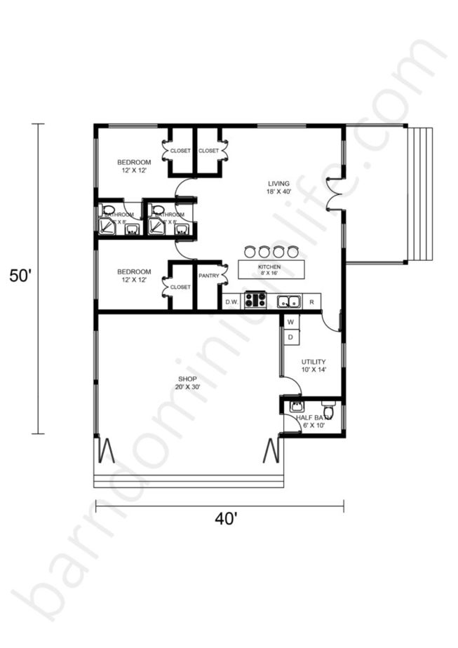 40x50 Barndominium Floor Plans with Front Porch and Shop Area with Porch