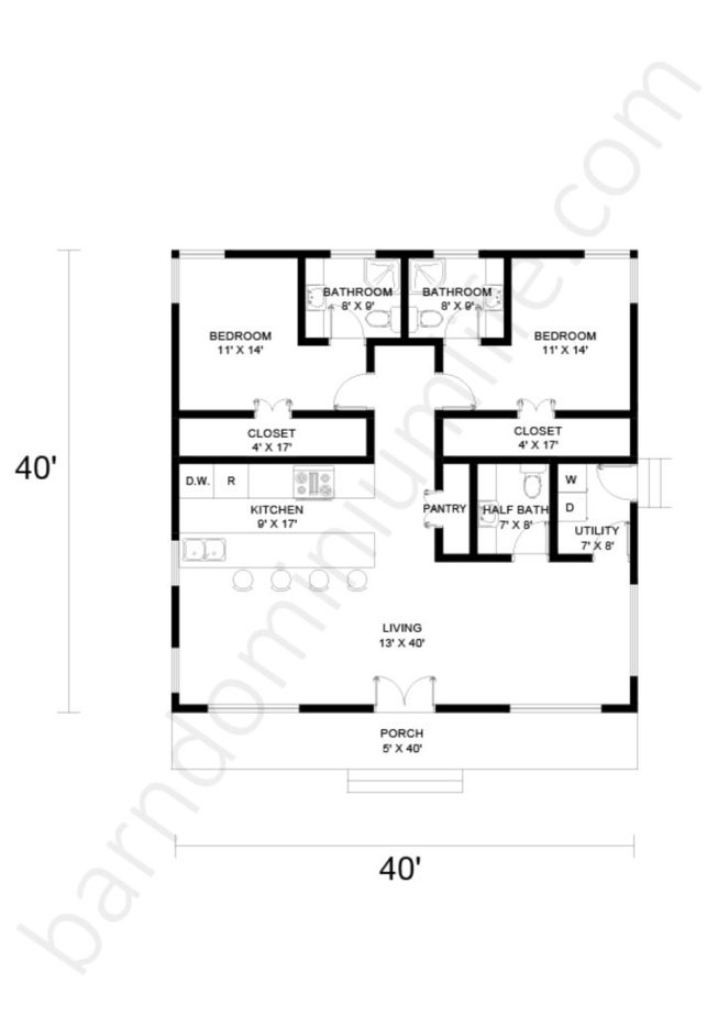 40x40 Barndominium Floor Plans Open Concept with Porch and 2 Bedrooms