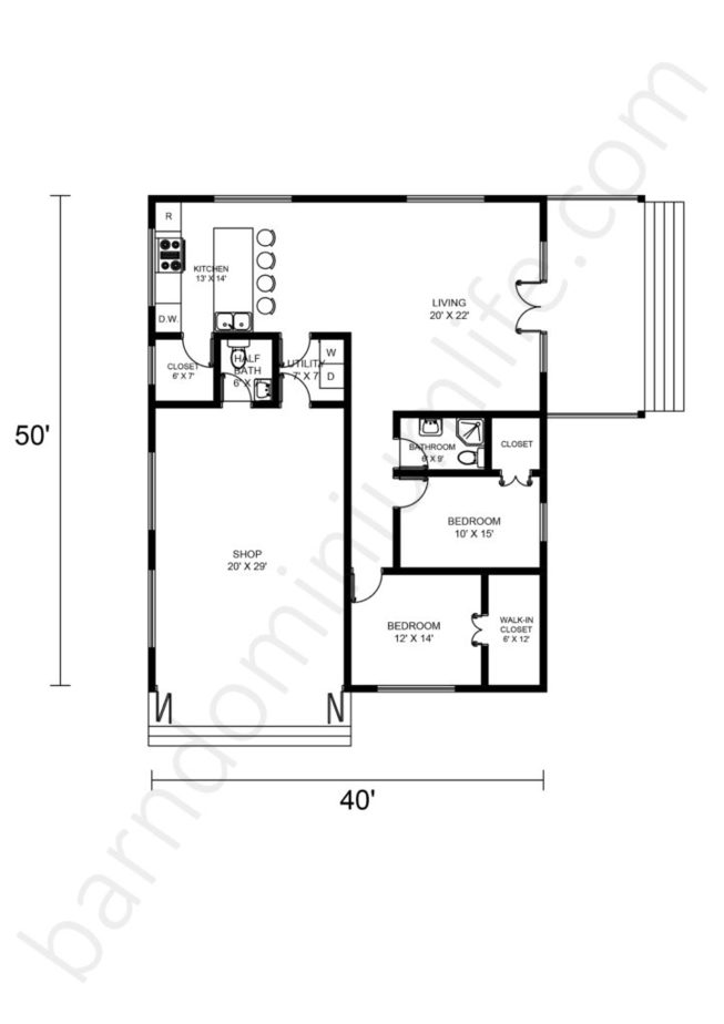 40x50 Barndominium Floor Plans with Shop Area and 2 Porches