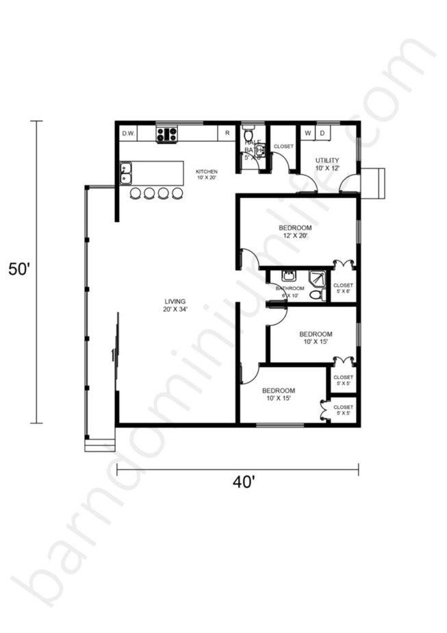 40x50 Barndominium Floor Plans Open Concept with Porch and 3 Bedrooms