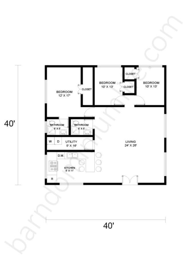 40x40 Barndominium Floor Plans with Open Space for Medium Sized Families