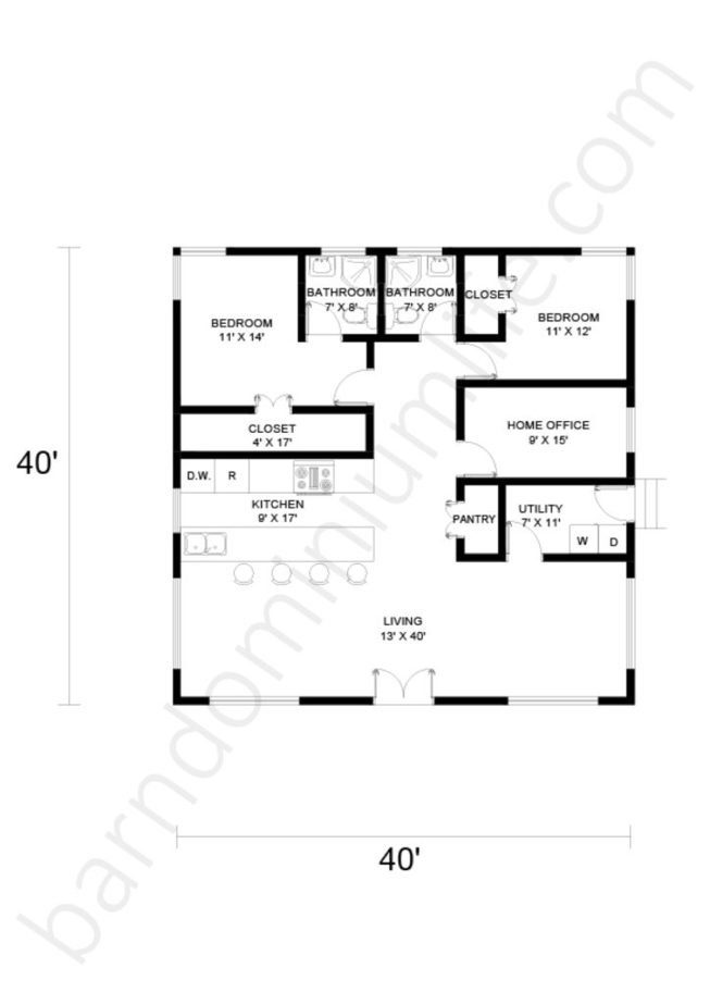 40x40 Barndominium Floor Plans with Home Office for Small Families