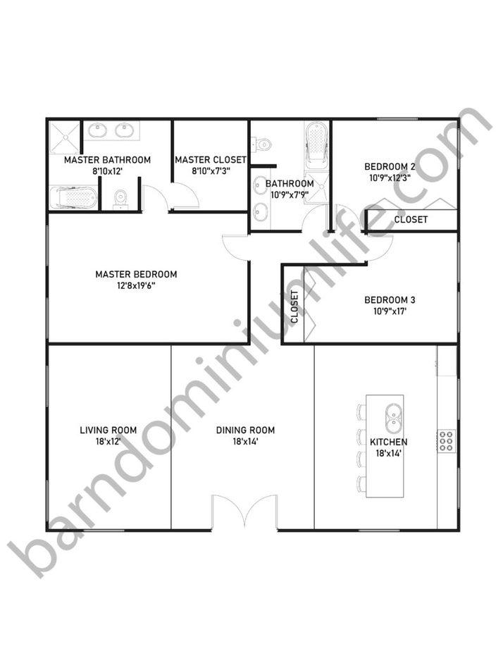 40x40 Barndominium Floor Plans for Medium Sized Families