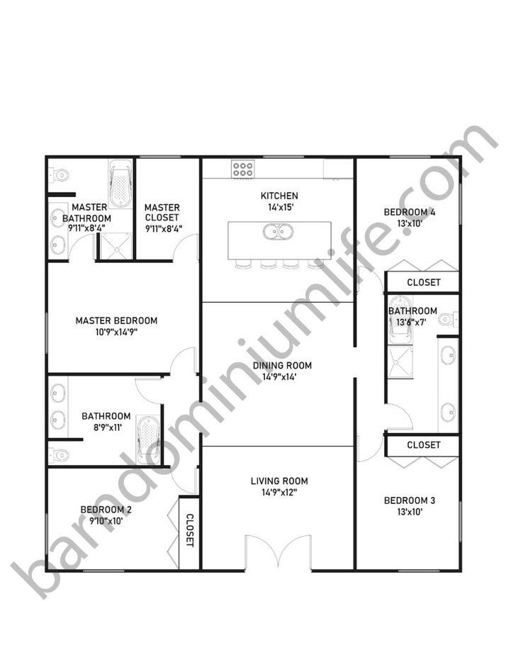 40x40 Barndominium Floor Plans for Large Families
