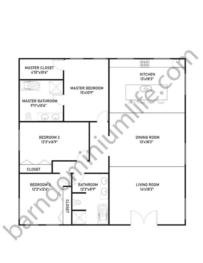 40x40 Barndominium Floor Plans with 3 Bedrooms for Medium Sized Families