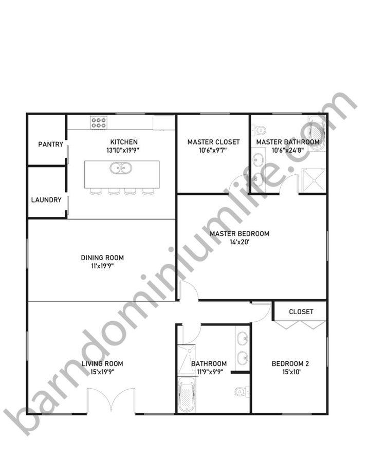 40x40 Barndominium Floor Plans for Small Families