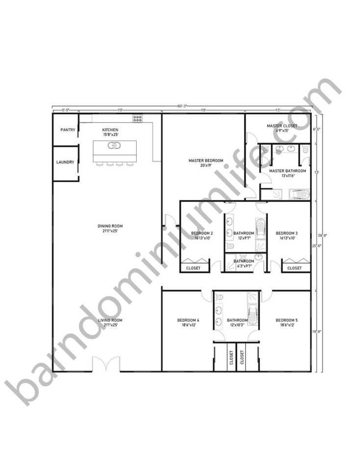 60x60 Barndominium Floor Plans with 1 Master Bedroom and 4 Bedrooms for Large Families