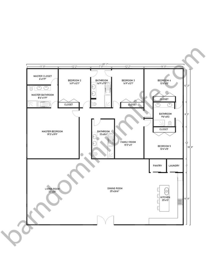 60x60 Barndominium Floor Plans with 1 Master Bedroom, 4 Bedrooms and Family Room