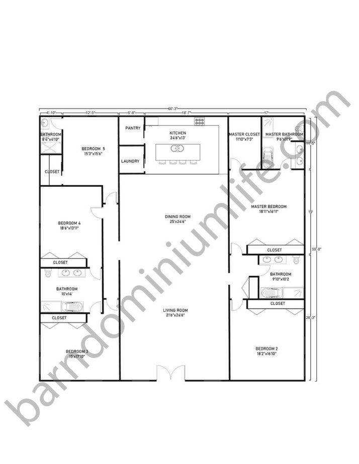 60x60 Barndominium Floor Plans with Classic Design for Large Families