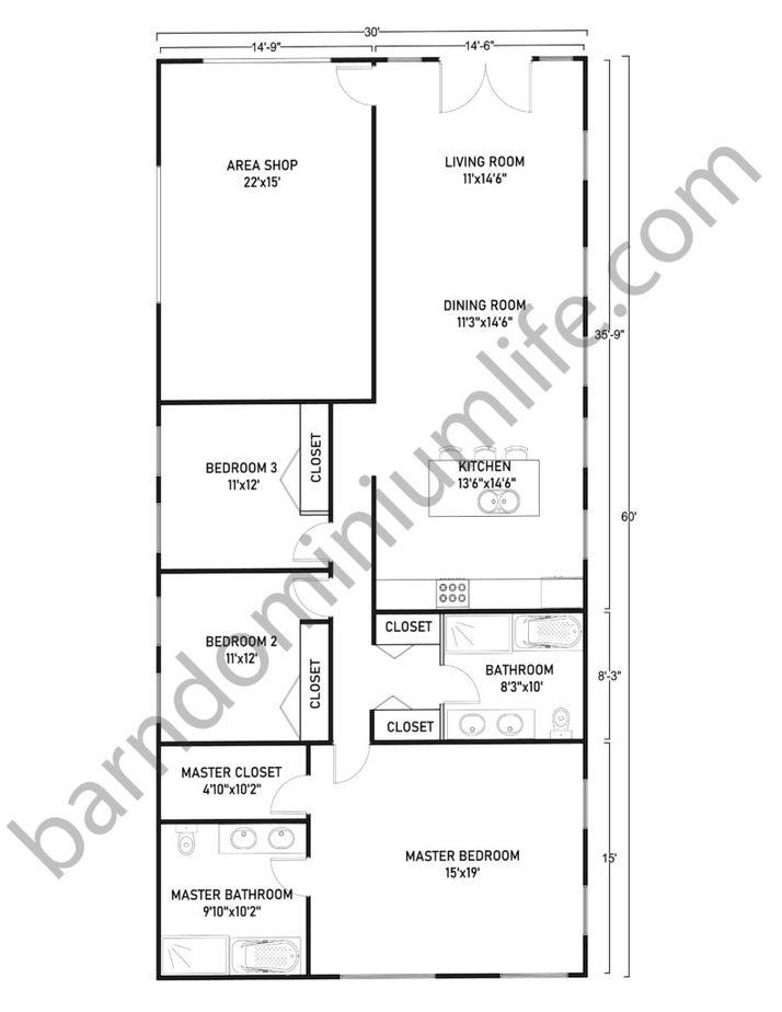 30x60 Barndominium with Shop Floor Plans Classic Vertical Design